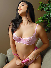 Sexy girl loves pink lace and her body is..