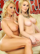 Blonde in tights and her slutty friend bare big..