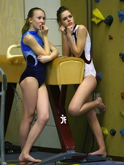 Sexy young friends Regina and Valentina work out..