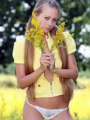 Playful blonde girl in white panties longs for..