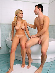 Busty blonde babe has gripping sex in the shower
