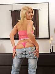 Alluring blonde Cherry Pink strips down her..