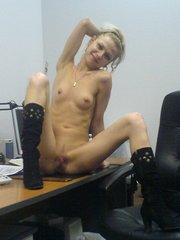 Slim teen sluts posing in office and show little..