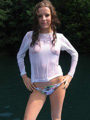 Tiny teen in wet transparent blouse and other..